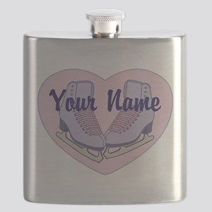 Personalized Ice Skating Heart Skates Flask