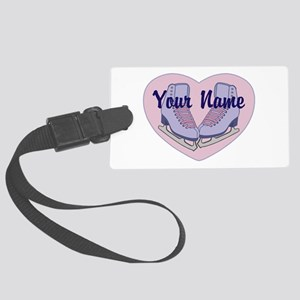 Personalized Ice Skating Heart Skates Luggage Tag