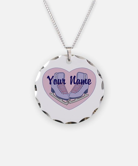 Personalized Ice Skating Heart Skates Necklace