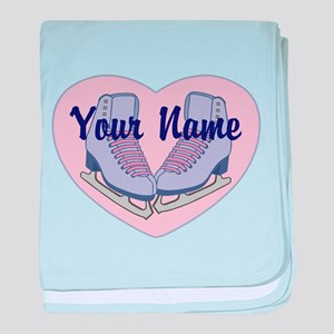 Personalized Ice Skating Heart Skates baby blanket