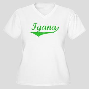 Iyana Vintage (Green) Women's Plus Size V-Neck T-S
