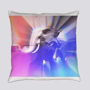 Digital Rainbow Elephant Everyday Pillow