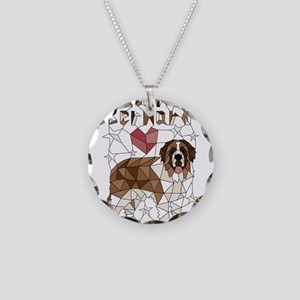 Geometric Saint Bernard Necklace Circle Charm