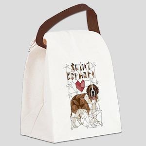 Geometric Saint Bernard Canvas Lunch Bag