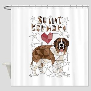 Geometric Saint Bernard Shower Curtain