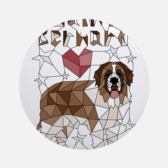Geometric Saint Bernard Round Ornament