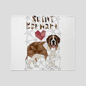 Geometric Saint Bernard Throw Blanket