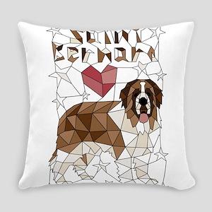 Geometric Saint Bernard Everyday Pillow