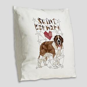 Geometric Saint Bernard Burlap Throw Pillow
