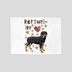 Geometric Rottweiler 5'x7'Area Rug