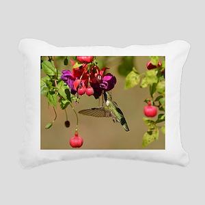 Hummer on fuchsia Rectangular Canvas Pillow