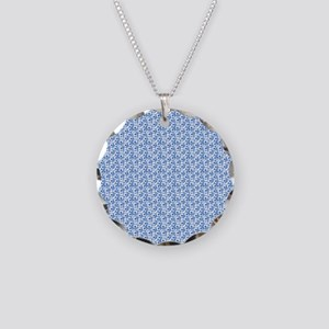 Blue and White Field of Dais Necklace Circle Charm