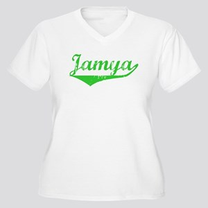 Jamya Vintage (Green) Women's Plus Size V-Neck T-S
