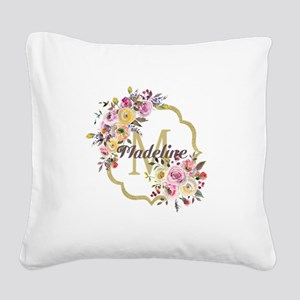 Watercolor Floral Gold Monogram Square Canvas Pill