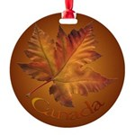 Canada Maple Leaf Souvenir Round Ornament