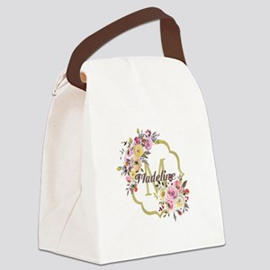 Watercolor Floral Gold Monogram Canvas Lunch Bag