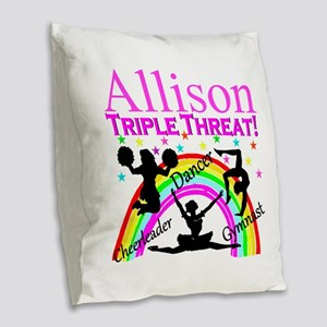 TRIPLE THREAT Burlap Throw Pillow