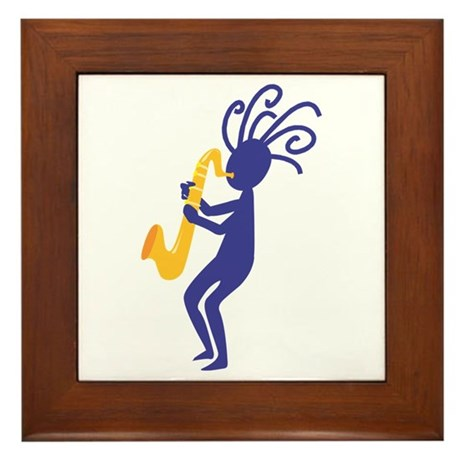 Kokopelli 3 Framed Tile