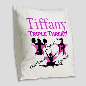 TRIPLE THREAT Burlap Throw Pillow