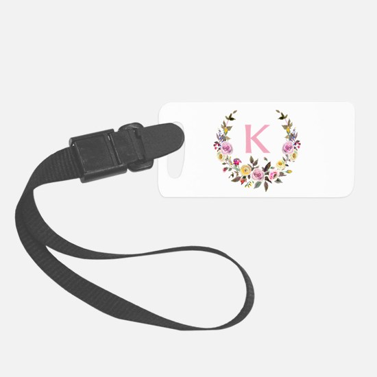 Watercolor Floral Wreath Monogram Luggage Tag