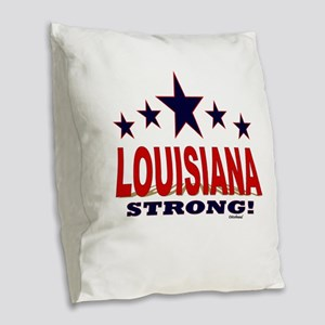 Louisiana Strong! Burlap Throw Pillow