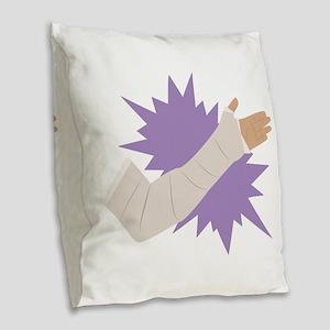 Arm Cast Burlap Throw Pillow