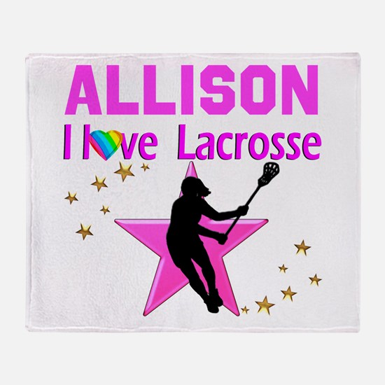 LACROSSE PLAYER Throw Blanket