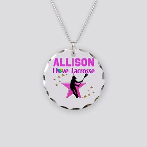 LACROSSE PLAYER Necklace Circle Charm