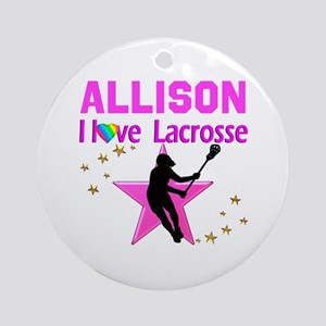 LACROSSE PLAYER Round Ornament