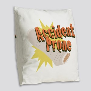 Accident Prone Leg Burlap Throw Pillow