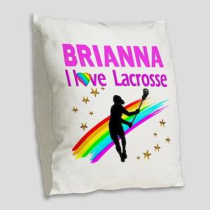 LACROSSE PLAYER Burlap Throw Pillow