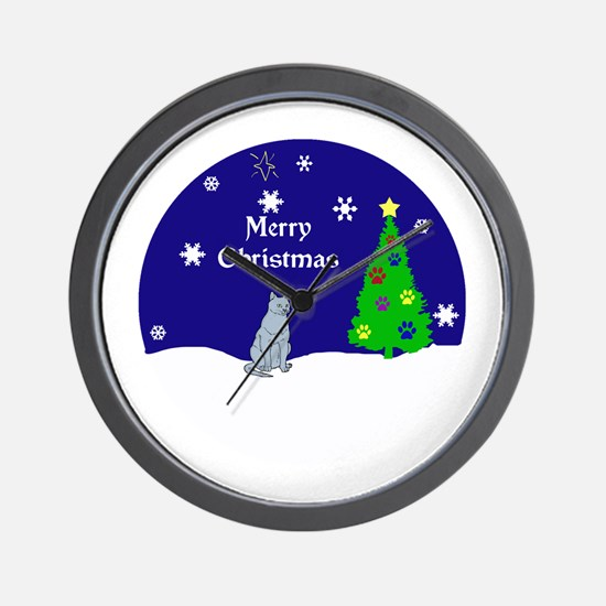 Russian Blue Merry Christmas Wall Clock