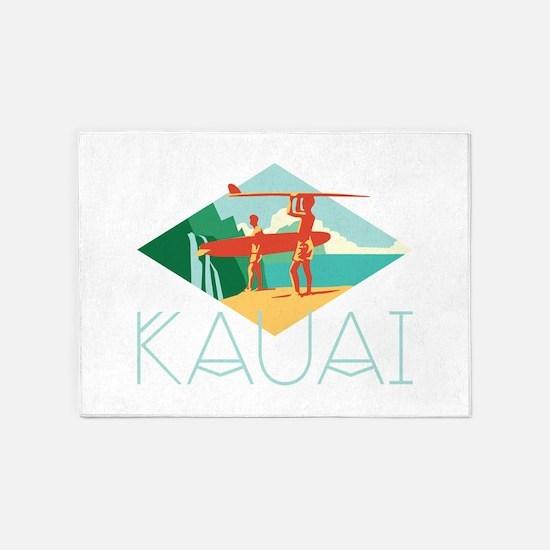 Kauai Surfers 5'x7'Area Rug