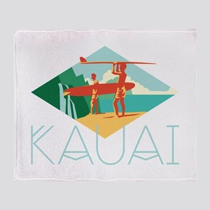 Kauai Surfers Throw Blanket