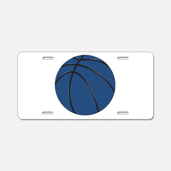 Blue and Black Basketball Aluminum License Plate