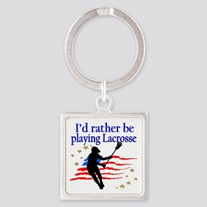 LACROSSE PLAYER Square Keychain