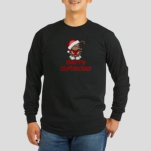 Merry Christmas Santa Cat Long Sleeve Dark T-Shirt