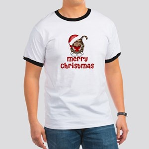 Merry Christmas Santa Cat Ringer T
