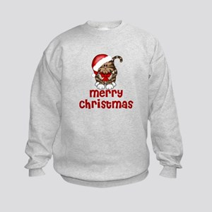 Merry Christmas Santa Cat Kids Sweatshirt