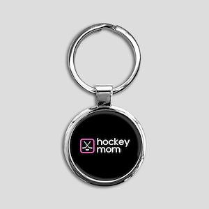 Hockey Mom (Pink) Round Keychain