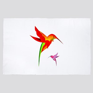 Colorful Hummingbirds Birds Design 4' x 6' Rug