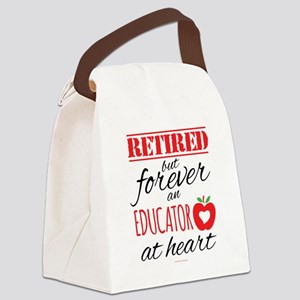 Retired Educator at Heart Canvas Lunch Bag