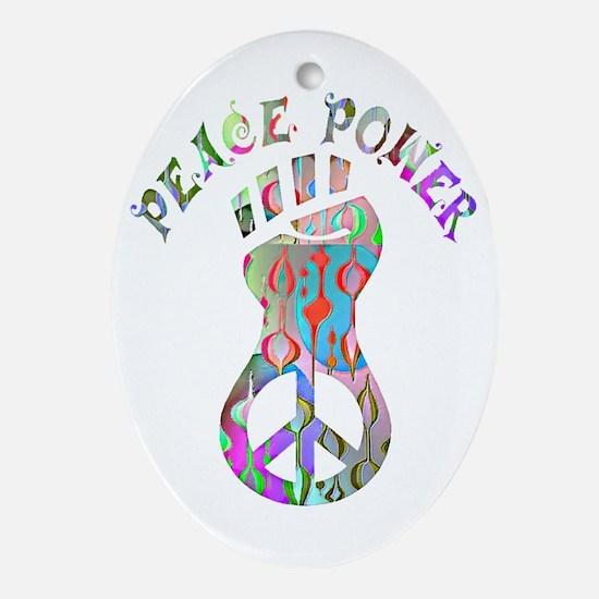 PEACE POWER Oval Ornament