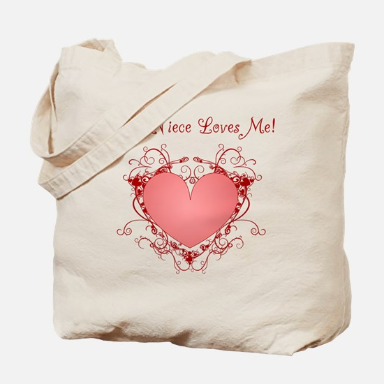 My Niece Loves Me Heart Tote Bag