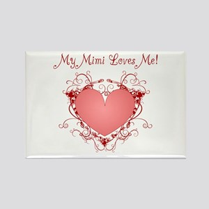 My Mimi Loves Me Heart Rectangle Magnet