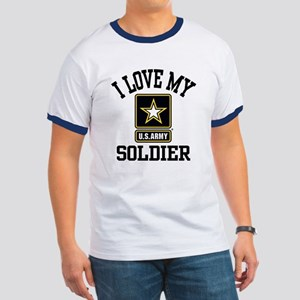 I Love My US Army Soldier Ringer T