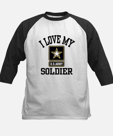 I Love My US Army Soldier Kids Baseball Jersey