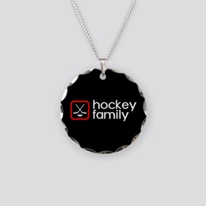 Hockey Family (Red) Necklace Circle Charm