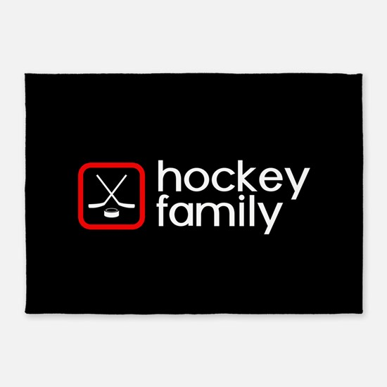 Hockey Family (Red) 5'x7'Area Rug