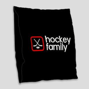 Hockey Family (Red) Burlap Throw Pillow